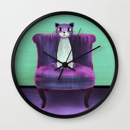 Elegant Cat turquoise Wall Clock