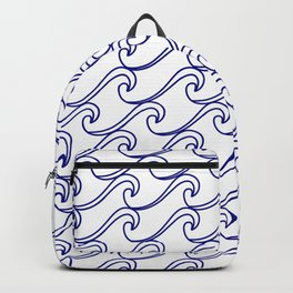 Rough Sea Pattern - blue on white Backpack