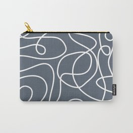 Doodle Line Art | White Lines on Dark Blue-Gray Background Carry-All Pouch