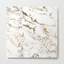 Modern chic faux gold white marble pattern Metal Print