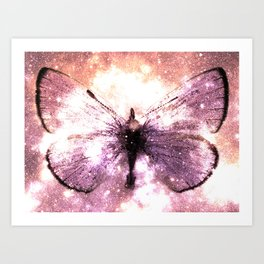 Celestial Butterfly Lavender Pink Peach Art Print