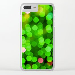 glowing confetti in green Clear iPhone Case