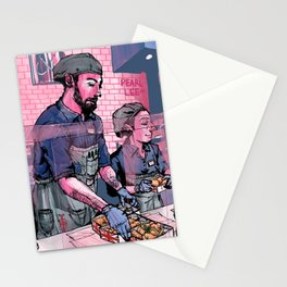 Pearl Lee Art: Scene at Ramsay's Fish and Chips Restaurant Stationery Cards