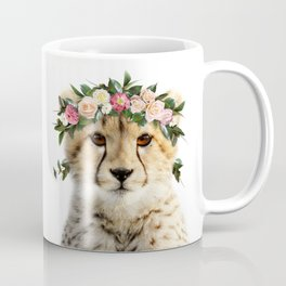 Baby Cheetah With Flower Crown, Baby Animals Art Print By Synplus Coffee Mug