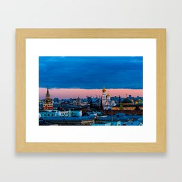 Moscow Sunset With An UFO Framed Art Print