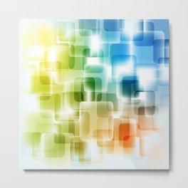 Contemporary Sparkle Blue, Green, Orange, Squares Metal Print