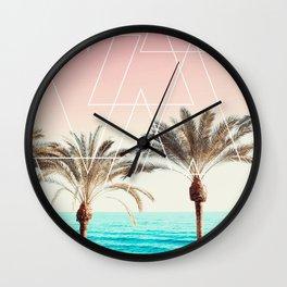 Modern tropical palm tree sunset pink blue beach photography white geometric triangles Wall Clock