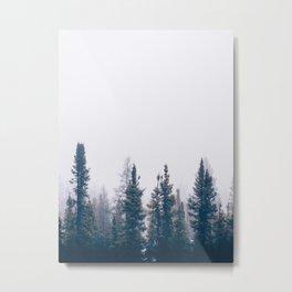 Minimalist Landscape Photo Pine Tree Silhouette Misty Forest Metal Print