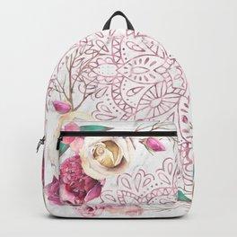 Rose Gold Mandala Garden on Marble Backpack