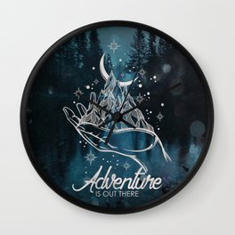 Adventure Is Out There Forest Lake Reflection - Nature Photography Wall Clock