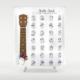 Ukulele Chords Chart, Fingering Diagram for Beginners. Shower Curtain