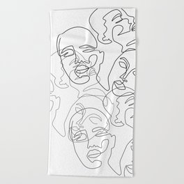 Lined Face Sketches Beach Towel