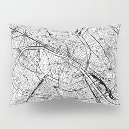 Paris White Map Pillow Sham