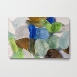 Colorful New England Beach Glass Metal Print