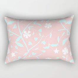 Girly blush pink teal white hand painted floral Rectangular Pillow