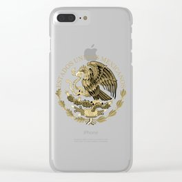 Mexican flag seal in sepia tones on black bg Clear iPhone Case