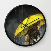 alicexz Wall Clocks featuring All Upon the Downtown Train by Alice X. Zhang