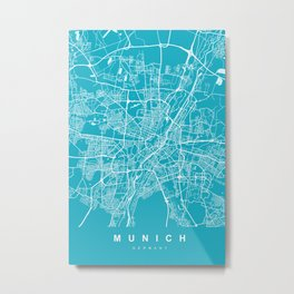 Munich Map Germany | Blue & Cyan | More Colors, Review My Collections Metal Print