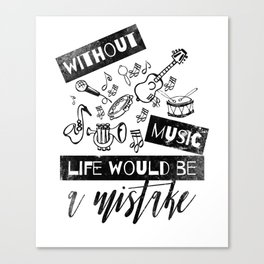 Fun Black Design with Musical Instruments Canvas Print