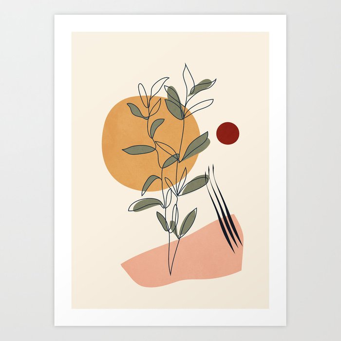 Minimal Line Young Leaves Art Print