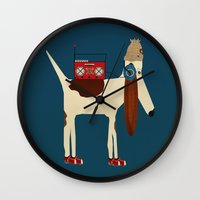 aelwen Wall Clocks featuring bootleg beagle  by bri.buckley