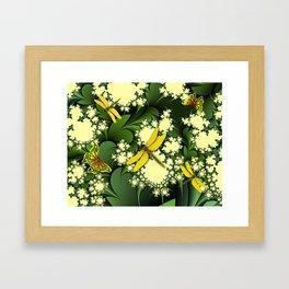Yellow Dragonflies Framed Art Print