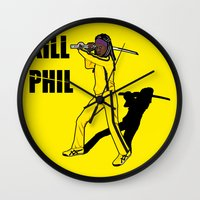 phil jones Wall Clocks featuring Kill Phil by Faniseto