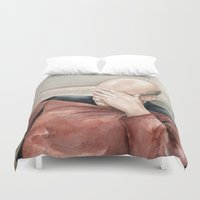 picard Duvet Covers featuring Picard Facepalm Meme by Olechka