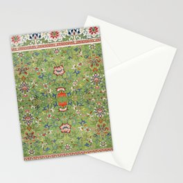 Asian Floral Pattern in Jade Green Antique Illustration Stationery Cards