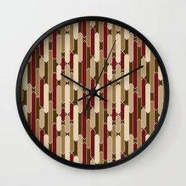 Modern Tabs in Brown, Burgundy and Tan Wall Clock