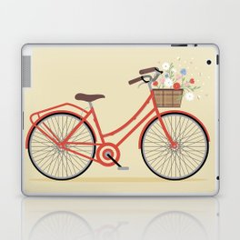 Flower Basket Bicycle Illustration Laptop & iPad Skin