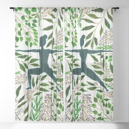 Yoga Warrior Pose One with Nature Sheer Curtain