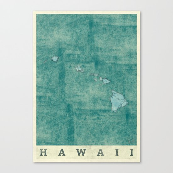 Hawaii State Map Blue Vintage Canvas Print