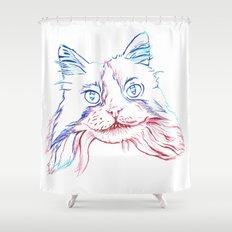 Fluffy Tuxedo Cat Shower Curtain