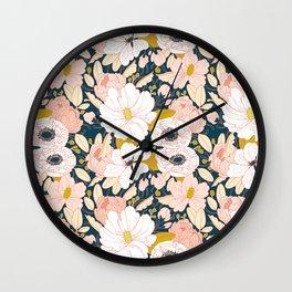 Night Floral Peony Garden Pattern Wall Clock