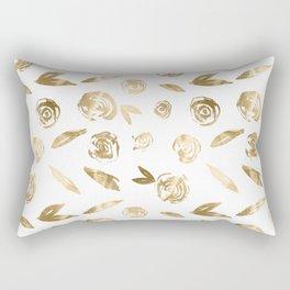 Gold Roses Rosette Pattern Golden on White Rectangular Pillow