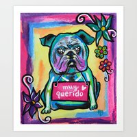 Sugar Skull English Bulldog  Art Print