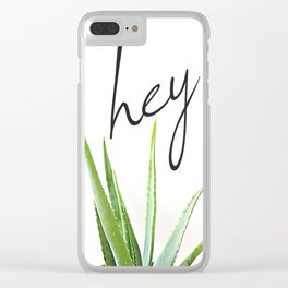 Hey Aloe - Succulent with White Background Clear iPhone Case