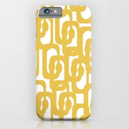 Mustard Yellow and White Mid-century Modern Loop Pattern iPhone Case