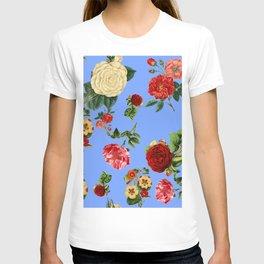 Blue vintage roses T-shirt