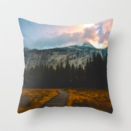 Path leading to Mountain Paradise Mountain Snow Capped Pine trees Tall Grass Sunrise Landscape Throw Pillow