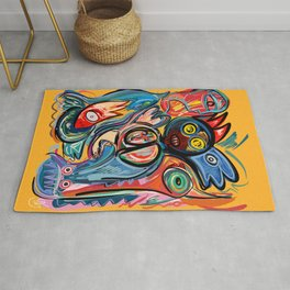 Yellow Life With Birds Street Art Rug