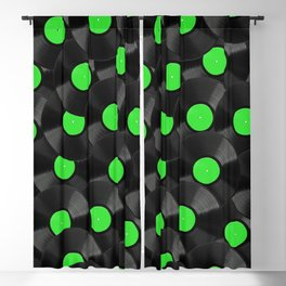 Vinyl Records Pattern (Green) Blackout Curtain