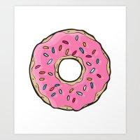 doughnut Art Prints featuring Doughnut by Sara Eshak