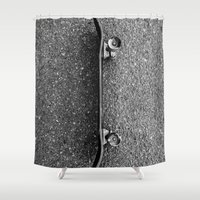skateboard Shower Curtains featuring Skateboard by short stories gallery
