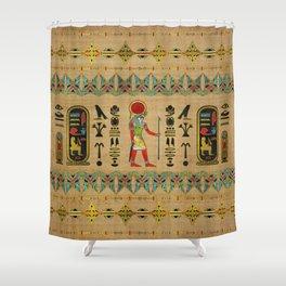 Egyptian Re-Horakhty  - Ra-Horakht  Ornament on papyrus Shower Curtain