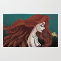 ariel Area & Throw Rugs featuring Ariel by The Batty Bird