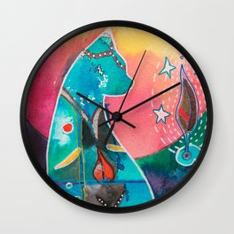 Super Cat - fantastic animal - by LiliFlore Wall Clock