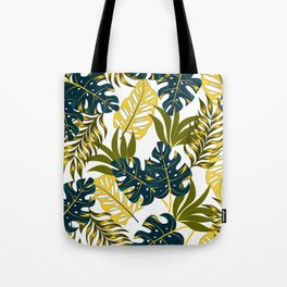 Botanical seamless tropical pattern with bright plants and leaves on a delicate background. Tropic leaves in bright colors. Hawaiian style. Colorful stylish floral. Tote Bag