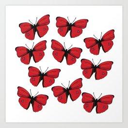 Red butterfly Spring Art Art Print